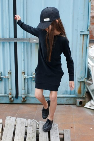 How to wear: black dress, black oxford shoes, black baseball cap