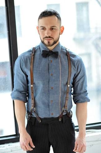 Men's Black Vertical Striped Dress Pants, Black Bow-tie, Blue Chambray Longsleeve Shirt, and Brown Leather Suspenders