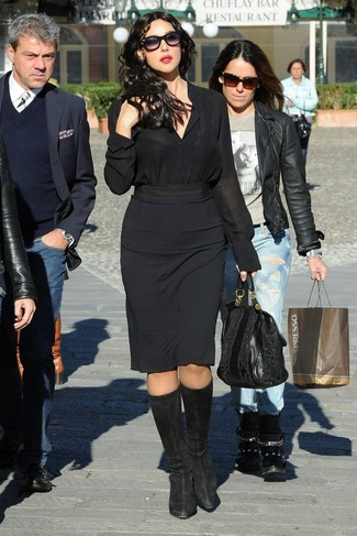 How to wear: black silk dress shirt, black pencil skirt, black suede knee high boots, black leather tote bag