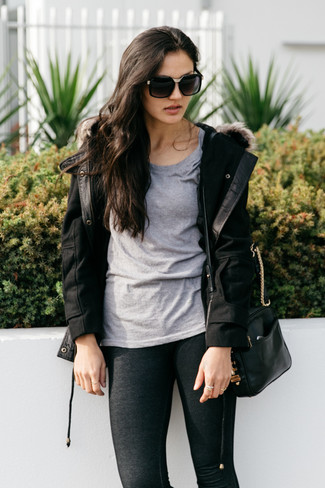 Pair a toggle coat with black leggings, if you feel like relaxed dressing without looking like you don't care. You can bet this outfit is great come cooler days.