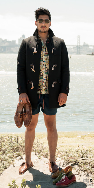 How to Wear an Orange Print Short Sleeve Shirt For Men: For something on the casual end, wear this combination of an orange print short sleeve shirt and teal shorts. Brown woven leather oxford shoes are an effortless way to add a little kick to the outfit.