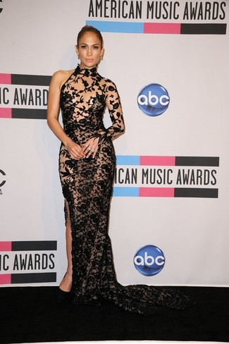 Jennifer Lopez wearing Black Embroidered Lace Evening Dress, Black Suede Pumps