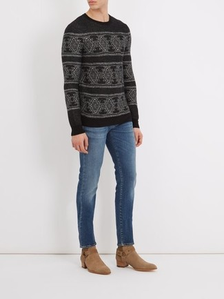 How to wear: black fair isle crew-neck sweater, blue jeans, tan suede cowboy boots