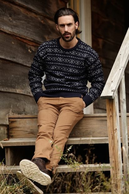 How to Wear a Black Fair Isle Crew-neck Sweater (4 looks) | Men's ...