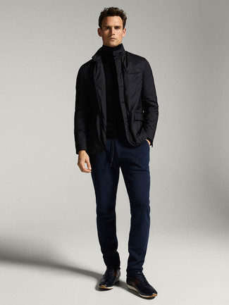 Black Field Jacket Outfits: This casual combo of a black field jacket and navy chinos is a never-failing option when you need to look cool and relaxed but have no time to spare. Complete your look with a pair of navy athletic shoes to spice things up.
