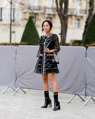 Women S Black Tulle Fit And Flare Dress Leather Ankle Boots Print Crossbody Bag Fishnet Socks Fashion