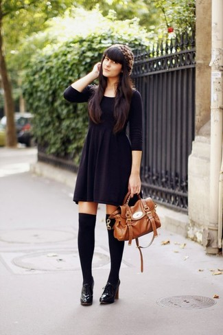 Women's Black Knit Fit and Flare Dress, Black Leather Lace-up Ankle Boots, Black Knee High Socks, Tobacco Leather Satchel Bag