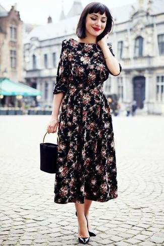 How to wear: black floral midi dress, black leather pumps, black suede handbag