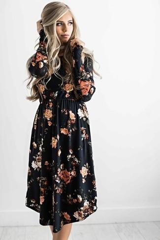 How to wear: black floral midi dress