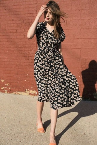 How to wear: black floral midi dress, orange leather flat sandals