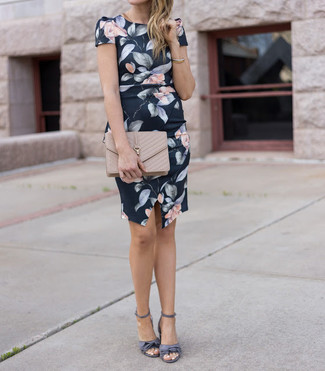 How to wear: black floral sheath dress, grey satin heeled sandals, beige quilted leather clutch