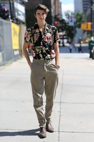 How to wear: black floral short sleeve shirt, beige dress pants, dark brown leather chelsea boots