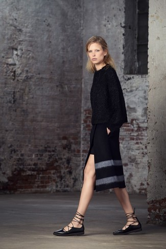 Dress in a black fluffy crew-neck sweater and a black slit pencil skirt to show off your styling savvy. Make your outfit more fun by completing it with black leather ballerina shoes. This ensemble is a pretty good idea, especially for fall, when the temperatures are dropping.