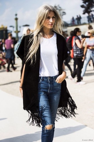 How to wear: black fringe kimono, white crew-neck t-shirt, blue ripped boyfriend jeans