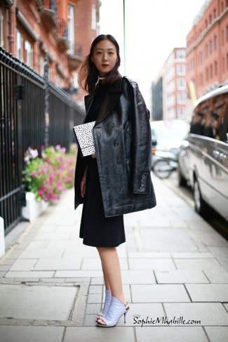 How to wear: black leather fur coat, black sheath dress, light violet leather mules, white and black polka dot clutch