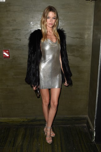 How to wear: black fur coat, silver bodycon dress, silver leather heeled sandals, black clutch