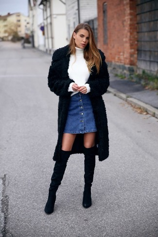 Furry Buttoned Up Coat