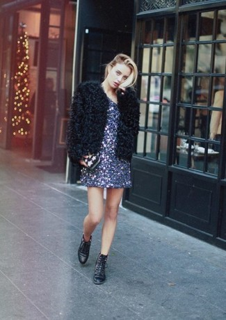 How to wear: black fur jacket, navy sequin shift dress, black leather lace-up flat boots, black star print clutch