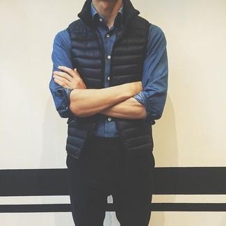 How to wear: black gilet, blue denim shirt, black chinos