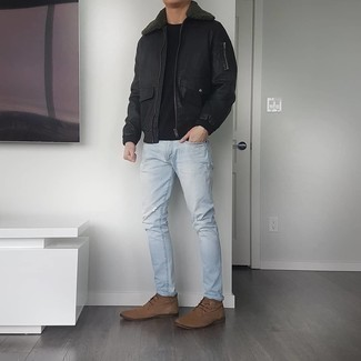 Brown Suede Desert Boots Outfits: A black leather harrington jacket and light blue ripped jeans have become bona fide wardrobe styles. Channel your inner Idris Elba and add brown suede desert boots.