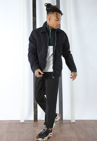 How to wear: black harrington jacket, white and green zip neck sweater, black jeans, black athletic shoes