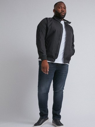 How to wear: black harrington jacket, white crew-neck t-shirt, navy jeans, black leather low top sneakers
