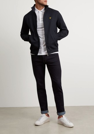 How to wear: black harrington jacket, white polo, black jeans, white leather low top sneakers