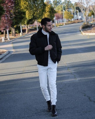 Black Leather Casual Boots Outfits For Men: This off-duty combination of a black harrington jacket and white sweatpants is ideal when you want to feel confident in your getup. Clueless about how to finish off this ensemble? Rock black leather casual boots to step up the style factor.