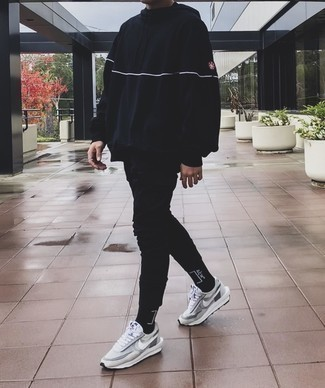 Black and White Print Socks Outfits For Men: A black hoodie and black and white print socks are absolute menswear staples that will integrate well within your daily off-duty fashion mix. Grey athletic shoes will inject an added touch of style into an otherwise all-too-common ensemble.