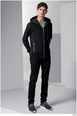 black long sleeve zip hoodie