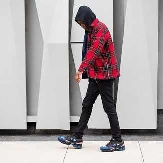 How To Wear a Red Plaid Long Sleeve Shirt With Black Skinny