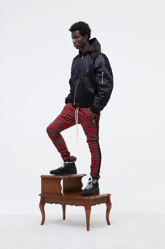 How to wear: black hoodie, red plaid sweatpants, black leather high top sneakers