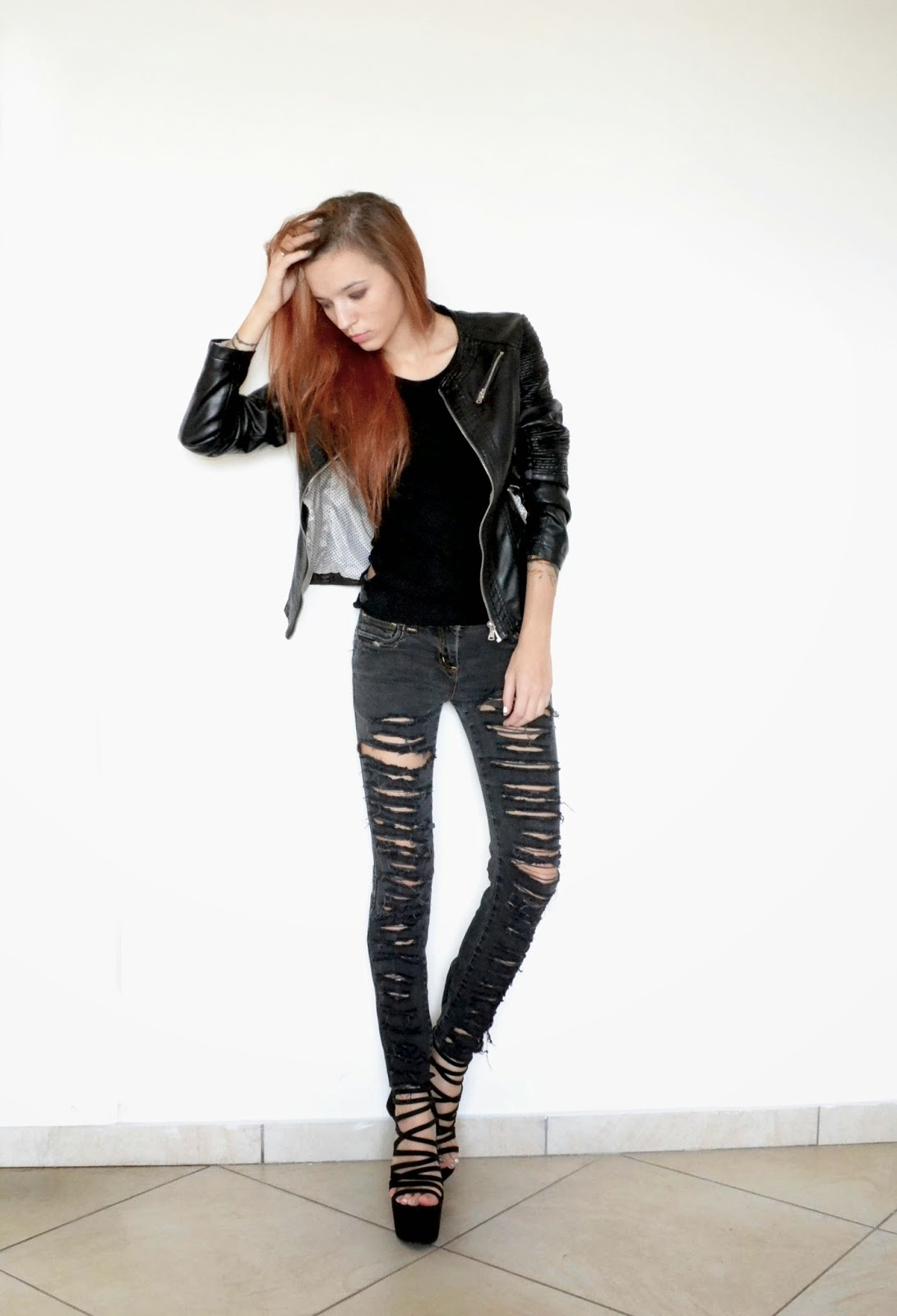 Womenu0026#39;su0026#39; Black Leather Jacket Black Tank Charcoal Ripped Skinny Jeans and Black Suede Wedge ...