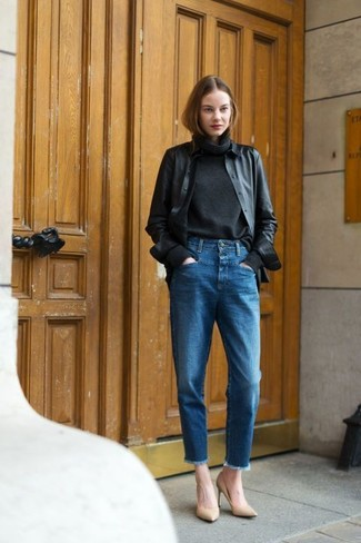 black-jacket-black-turtleneck-blue-jeans
