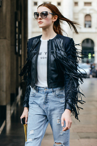 A black fringe leather jacket and light blue distressed boyfriend jeans are perfect for both running errands and a night out.