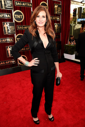 How to Wear a Jumpsuit After 40: Rock a jumpsuit for a cool and stylish getup. To give your outfit a smarter feel, why not introduce a pair of black suede heeled sandals to the mix?