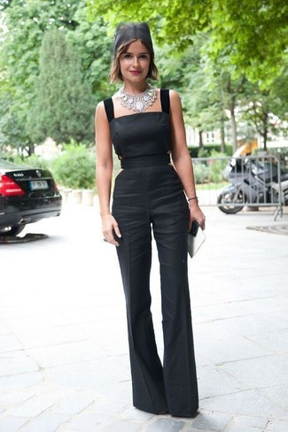 How to wear: black jumpsuit, silver necklace