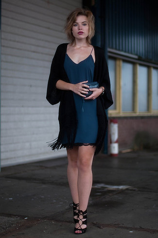 How to wear: black kimono, teal cami dress, black suede heeled sandals, teal leather clutch