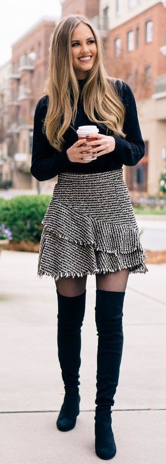 How to wear: black knit turtleneck, grey tweed mini skirt, black suede over the knee boots
