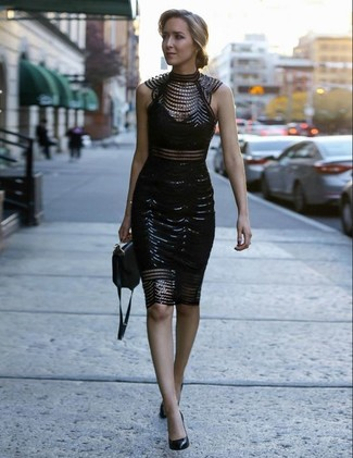How to wear: black embellished lace bodycon dress, black leather pumps, black leather crossbody bag