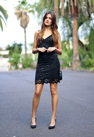 How to wear: black lace bodycon dress, black suede pumps, black leather crossbody bag