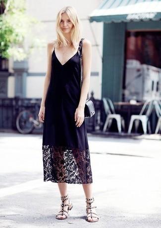 babd7a8a30f95 How to wear: black lace cami dress, black embellished leather gladiator  sandals, black