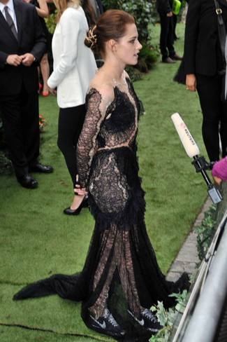 Kristen Stewart wearing Black Lace Evening Dress, Black and White Low Top Sneakers