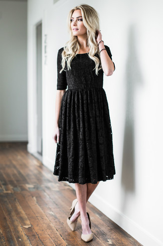 How to wear: black lace fit and flare dress, beige leather pumps, black bracelet