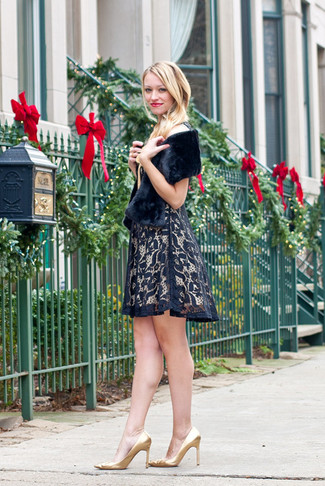 How to wear: black lace fit and flare dress, gold leather pumps, black fur scarf