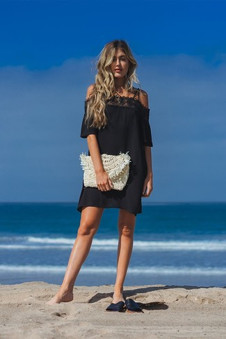 How to wear: black lace off shoulder dress, black leather flat sandals, beige straw clutch