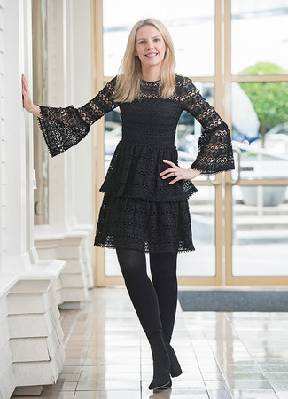 How to wear: black lace skater dress, black suede ankle boots, black tights
