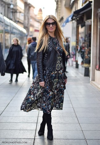 How to wear: black studded leather biker jacket, black floral midi dress, black suede knee high boots