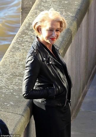 Helen Mirren wearing Black Leather Biker Jacket, Black Midi Dress