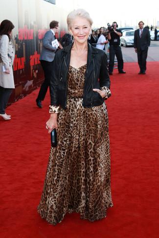 Helen Mirren wearing Black Leather Biker Jacket, Brown Leopard Maxi Dress, Black Leather Clutch